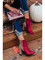cheap -Women's Boots Chunky Heel Pointed Toe Daily Satin PU Burgundy