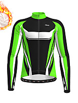 cheap -21Grams Men's Long Sleeve Cycling Jacket Winter Fleece Polyester Yellow Blue Green Geometic Bike Jacket Top Mountain Bike MTB Road Bike Cycling Thermal Warm Fleece Lining Breathable Sports Clothing