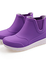 cheap -Women's Boots Flat Heel Round Toe Booties Ankle Boots Minimalism Daily PVC Solid Colored Black / White Purple Blue / Booties / Ankle Boots