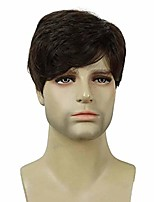 cheap -men wig short straight brown wig mature style synthetic hair for daily use cosplay (light chestnut brown)