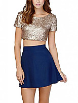 cheap -women's glitter sequins backless crop top t-shirt gold