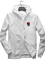 cheap -rose floral jacket windbreaker for men women waterproof windproof college jackets white