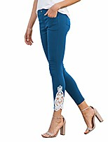 cheap -women's mykonos blue crochet ankle super stretch jegging with pockets | cotton blend