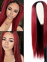 cheap -vvan long straight hair wine red straight wigs none bangs sythetic wigs with black roots full machine wig cosplay wig party wig for fashion women(24 inches wine red hair)
