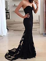 cheap -Mermaid / Trumpet Beautiful Back Sexy Engagement Formal Evening Dress Sweetheart Neckline Sleeveless Court Train Lace with Lace Insert 2020
