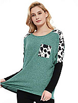 cheap -women's round neck long sleeve stylish cow print color block casual loose t-shirt raglan tops tee sweatshirt, green, s