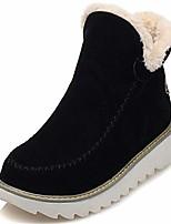 cheap -women's comfortable pure color round toe warm plush lining platform winter ankle snow boots black