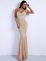 cheap -Mermaid / Trumpet Sexy Sparkle Party Wear Formal Evening Dress Spaghetti Strap Sleeveless Sweep / Brush Train Spandex with Sequin 2020
