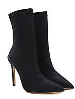 cheap -Women's Boots Stiletto Heel Pointed Toe Casual Daily Walking Shoes PU Black / Mid-Calf Boots