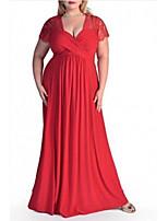 cheap -Sheath / Column Minimalist Plus Size Wedding Guest Formal Evening Dress V Neck Short Sleeve Floor Length Chiffon with Pleats 2020