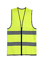 cheap -women men adult unisex hi vis jacket high visibility reflective top safety vest for car running motorcycle cycling zip up yellow ar0011 - m