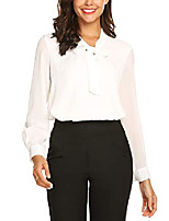 cheap -women's office shirts bow tie v neck short sleeve layered chiffon blouse black s