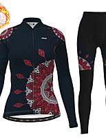 cheap -21Grams Women's Long Sleeve Cycling Jersey with Tights Winter Fleece Polyester Black Christmas Bike Clothing Suit Thermal Warm Fleece Lining Breathable 3D Pad Warm Sports Graphic Mountain Bike MTB