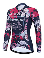 cheap -Women's Long Sleeve Cycling Jersey Winter Red Floral Botanical Bike Top Mountain Bike MTB Road Bike Cycling Breathable Quick Dry Sports Clothing Apparel / Stretchy / Athletic
