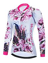 cheap -Women's Long Sleeve Cycling Jersey Winter White Floral Botanical Bike Top Mountain Bike MTB Road Bike Cycling Breathable Quick Dry Sports Clothing Apparel / Stretchy / Athletic