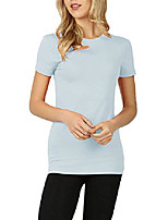cheap -womens short sleeve basic crew neck cotton long tee shirt (small, ash blue)