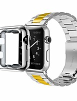 cheap -compatible with apple watch band series 4/3/2/1, stainless steel bracelet strap w/adapter+ tpu soft case cover for iwatch 38/40/42/44mm (silver/gold 42mm)