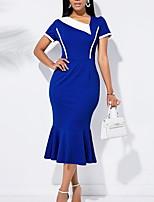 cheap -Women's Sheath Dress Midi Dress - Short Sleeve Color Block Spring Fall V Neck Sexy Party Slim 2020 Royal Blue S M L XL