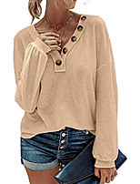 cheap -women waffle knit shirts casual v-neck long sleeve slouchy loose blouses plain faux button lightweight pullover khaki