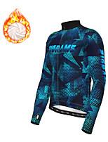 cheap -21Grams Men's Long Sleeve Cycling Jacket Winter Fleece Polyester Dark Blue Geometic Bike Jacket Top Mountain Bike MTB Road Bike Cycling Thermal Warm Fleece Lining Breathable Sports Clothing Apparel