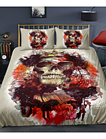 cheap -Skull Series 3-Piece Duvet Cover Set Hotel Bedding Sets Comforter Cover with Soft Lightweight Microfiber For Holiday Decoration(Include 1 Duvet Cover and 1or 2 Pillowcases)