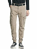 cheap -men's hiking pants overalls cotton mens casual pants multi-pocket pants khaki 36