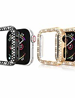 cheap -2pack bling crystal diamonds plate case cover protective frame compatible with apple watch 44mm watch bumper (black+rose gold, 44mm watch)