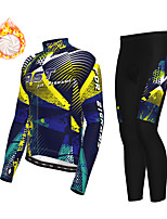cheap -21Grams Men's Long Sleeve Cycling Jersey with Tights Winter Fleece Polyester Black / Yellow Green Bike Clothing Suit Thermal Warm Fleece Lining Breathable 3D Pad Warm Sports Graphic Mountain Bike MTB