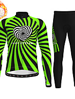 cheap -21Grams Men's Long Sleeve Cycling Jersey with Tights Winter Fleece Polyester Black / Yellow Blue Green Bike Clothing Suit Thermal Warm Fleece Lining Breathable 3D Pad Warm Sports Graphic Mountain