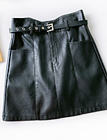 cheap -Women's Causal Daily Active Streetwear Skirts Solid Colored Pocket Patchwork Black