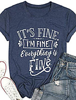 cheap -women t shirt its fine im fine everything is fine t shirt inspirational shirt funny casual short sleeve sarcastic tee blue