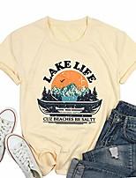 cheap -lake life women shirts cute graphic tshirt summer womens tops casual short sleeve tee shirt blouse (light yellow, x-large)