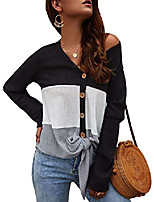 cheap -women¡s casual tops shirts v neck waffle knit twist knot long sleeve blouses black