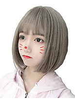 cheap -bob wig - wigs for women, cosplay wig, natural synthetic wig, bang wig, lolita wig with wig cap (gray flaxen mixed)