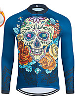 cheap -WECYCLE Men's Women's Long Sleeve Cycling Jersey Winter Fleece Polyester Blue Skull Bike Jersey Top Mountain Bike MTB Road Bike Cycling Fleece Lining Breathable Warm Sports Clothing Apparel