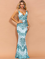 cheap -Mermaid / Trumpet Sexy Sparkle Prom Formal Evening Dress Spaghetti Strap Sleeveless Floor Length Spandex with Sequin 2020