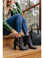 cheap -Women's Boots Chunky Heel Pointed Toe Daily Satin PU Black