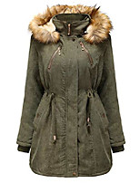 cheap -women's warm sherpa lined mid long winter corduroy parka coat fur hood (small, army green)
