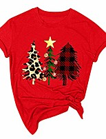cheap -merry christmas shirt women casual short sleeves o-neck plaid xmas trees print loose hoilday tee tops (2xl,red)