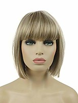 "cheap -8"" straight short bob hair flat bangs cute central dot skin top heat resistant synthetic wigs h16/613 blonde highlighted"