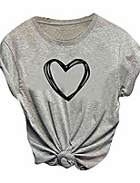 cheap -fashion women love hearted shaped casual short sleeve o-neck tops tee t-shirt blouse gray