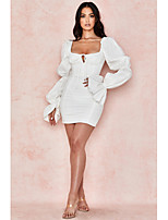 cheap -Sheath / Column Minimalist Sexy Party Wear Cocktail Party Dress Scoop Neck Long Sleeve Short / Mini Spandex with Sleek 2020