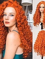 cheap -Cosplay Costume Wig Synthetic Wig Curly Bouncy Curl Middle Part Wig Long Orange Synthetic Hair Women's Odor Free Fashionable Design Soft Orange / Heat Resistant