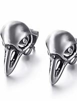 cheap -antique crow viking odin raven skull death devil goth punk emo steampunk stainless steel stud earrings
