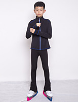 cheap -Figure Skating Jacket with Pants Boys' Ice Skating Top Bottoms Black / Blue Spandex High Elasticity Training Competition Skating Wear Patchwork Long Sleeve Ice Skating Figure Skating / Kids