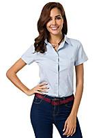 cheap -womens basic simple long/short sleeve button down shirt,official ladies blouse dress shirts for women(xl) cyan blue