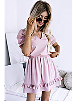 cheap -Women's Sheath Dress Knee Length Dress - Short Sleeve Solid Color Spring Summer Casual Loose 2020 White Blue Blushing Pink S M L XL XXL