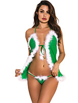 cheap -Women's Lace Suits Nightwear Patchwork Red / Green S M L