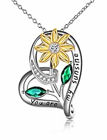 cheap -sterling silver sunflower necklace you are my sunshine sunflower pendant jewelry gifts for women girls (sunflower necklace 2)