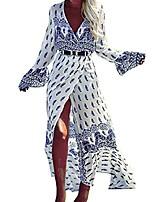cheap -women's bohemian deep v-neck long maxi dress bell sleeve summer beach evening party white